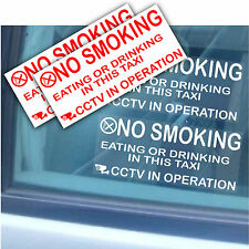 4 Taxi/Minicab Warning Stickers-NO SMOKING,Eating,Drinking-CCTV In Operation-LRG