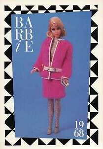 "Barbie Collectible Fashion Trading Card  "" Snug Fuzz ""  White Belt Leggings 1968"