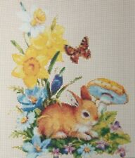 Baby Rabbit with Butterfly and Flowers Counted Cross Stitch Chart No. 2-108