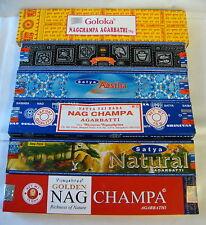 Räucherstäbchen Set, Satya, Nag Champa, Aastha, Goloka, Natural Räucherware 91g