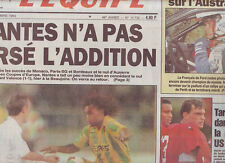 journal  l'equipe 17/09/93 FOOTBALL  NANTES VALENCE AUXERRE TENERIFE DELECOUR