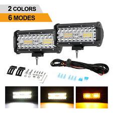 """AUXBEAM 7"""" LED Work Light Bar Amber/White Strobe Flash Offroad Driving Fog ATV"""