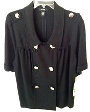 Alfani Black Jacket Short Sleeve Silver Buttons Size L Macys Tag $89 NWT