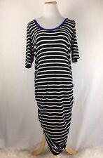 Motherhood Maternity Black & White Striped 3/4 Sleeve Maxi Dress Size Large