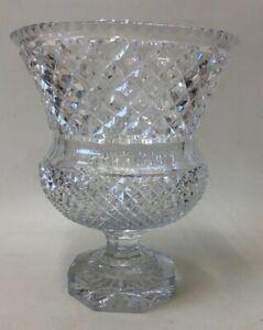 "Large Vintage Crystal Footed Vase Standing 11.5"" Tall"