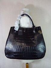 FURLA Onyx Black Distressed Croc Embossed Leather Large Giselle Tote Bag $548