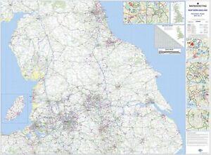 Northern England Regional Road Map - Wall Map 4 Laminated