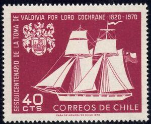 1970 Chile SC# 384 - Sailing Ship and Arms of Valdivia - M-NH