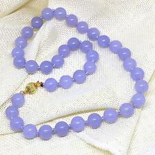 "Fashion women 10mm light purple violet jade round beads necklace AAA 18"""