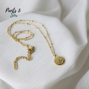 Evil Eye Pendant 18k Gold Plated Women Necklace Positive Energy and Protection