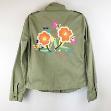 LUCKY BRAND Boho Floral Embroidered Military Style Shirt Jacket WMs SZ S