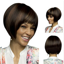 Damen Natural Short Straight Bob Human Hair Full Lace Wigs Lace Front Wig.
