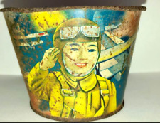 Tin Toy Bucket Flying Soldier Before the Sino-Japanese War Made in Japan Antique