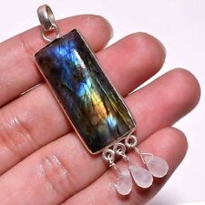 Lovely silver plated natural genuine large Laboradite and moonstone pendant
