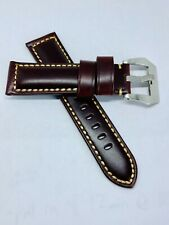 Dark Brown 22mm Italian Tanned Vegetable Handmade Leather Watch Band Strap