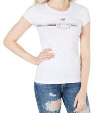 Guess Womens Knit Top White Size Medium M Logo Graphic Metallic Print 491