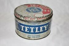 Vintage Tetley 100 tea bags Tin With 15 Cents Off Lid