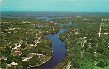 New Port Richey Florida~Aerial View Cotee River~Gulf of Mexico~1950's Postcard
