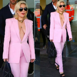 Sexy Pink Ladies Pantsuits 2 Pieces For Women Suits Party Office Tuxedos Custom