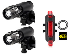 2 pcs front & rear 5 led rechargeable light set - bright lights zoom flash bike