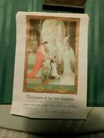 In Remembrance Of My First Holy Communion Litho Vintage 1954