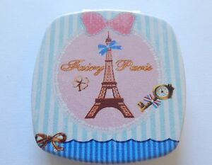 Mirror/Compact -Square-Eiffel Tower-  Paris  2 mirrors- magnify -pink & blue