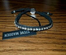 NWT Steve Madden Black Fabric Crystal Slide Bracelet Silvertone Hardware