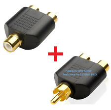 2x RCA Y Splitter 1 Male Plug to 2 Female Jack Adapter Audio Cable Converter