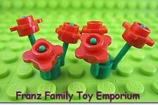 New LEGO x6 Minifig Flowers Red with 2 Green Grass Plants Garden Part Lot