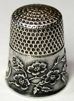 """Antique Ketcham & McDougall Sterling Silver Thimble  """"Wild Roses""""  C1900s"""