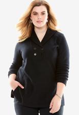 Women's 3X 30/32 Fit 4X Black Fleece Shawl Collar Top Shirt Bust 64 Tunic L 32