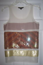 EXPRESS IVORY GOLD STRIPE COLORBLOCK SEQUIN S BLING SPARKLE TANK TOP BLOUSE