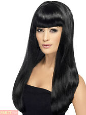 Smiffys Babelicious Wig Long Straight With Fringe - Black