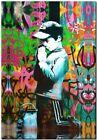 """BANKSY STREET ART CANVAS PRINT Boy praying 18""""X 12"""" stencil poster"""