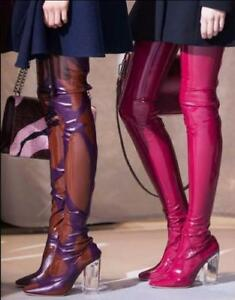 Sexy Women Patent Leather Clear High Block Heel Over Knee Thigh Long Boots Shoes