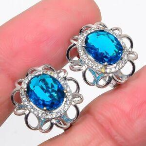 """London Blue Topaz & Cubic Zirconia 925 Sterling Silver Earring Jewelry 0.7"""" S263"""