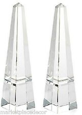 """Contemporary Crystal Obelisk Statue Grooved Cut Base Finial Figurine Decor 10""""H"""