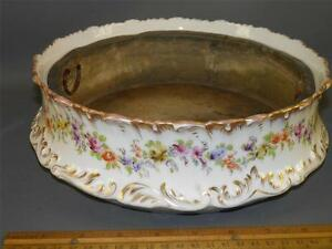 ANTIQUE DRESDEN HAND PAINTED FLORAL PLANTER  GOLD ROSE MARK 10''Dia.