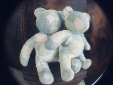 ANTIQUE/VINTAGE PAIR OF LARGE AMERICAN HANDMADE PATCH WORK TEDDY BEARS