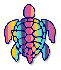Sea Turtle Sticker Rainbow Seersucker Pattern Waterproof Vinyl Decal 4""