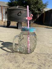 New listing Glass Flamingo Cup With Straw And Lid