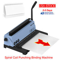 34 Holes Punching Binding Machine All Steel Metal Spiral Coil Binder Puncher USA