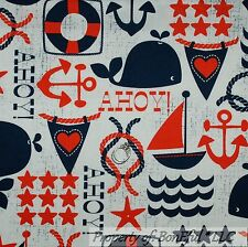 BonEful Fabric FQ Cotton Quilt White Red Blue Sail Boat Rope Star Anchor L Whale