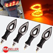4x Amber Motorcycle Black 12 LED Turn Signal Indicators Blinker Light Universal