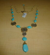 CHICO'S Isabella Turquoise Blue Stone & Coin Gold Pendant Necklace NWT $65.50