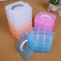 Clear Plastic Storage Organiser Compartment Craft Beads Jewellery Tool Box Chic