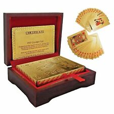 24K Karat Gold $100 dollar plated Poker Playing Card with Box Certificate Uk