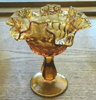 Vintage Fenton Amber Glass Inverted Thumbprint Double Ruffled Stemmed Compote