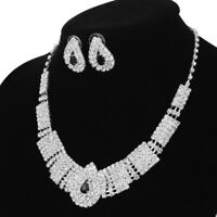 Elegant Wedding Party Jewelry Set Bling Crystal Rhinestone Necklace and Earrings
