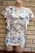MARKS SPENCER WHITE BLUE PINK FLORAL FRILL SHORT SLEEVE RUFFLE TOP BLOUSE 12 M
